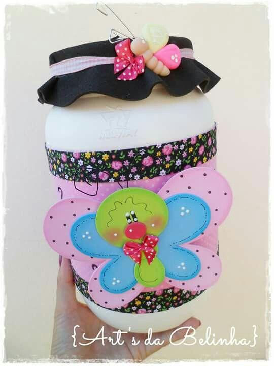 Frasco mariposa eva pinterest frascos mariposas y - Como hacer mariposas de goma eva ...