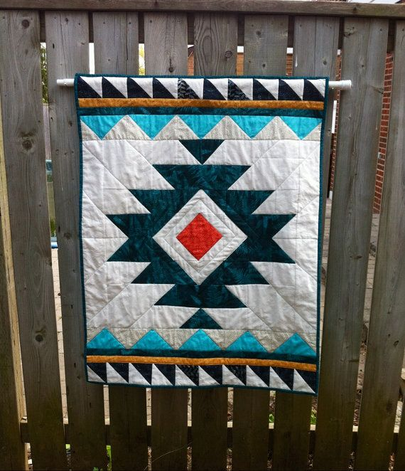 Handmade Tribal Aztec Quilt Baby Quilt Wallhanging
