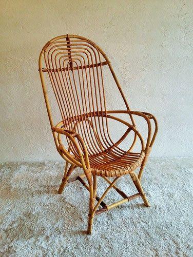 grand fauteuil rotin vintage - Fauteuil Rotin Vintage