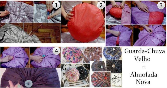 Transforme guarda-chuvas quebrados em belas almofadas coloridas.  https://www.facebook.com/pages/Chiquinha-Artesanato/345067182280566