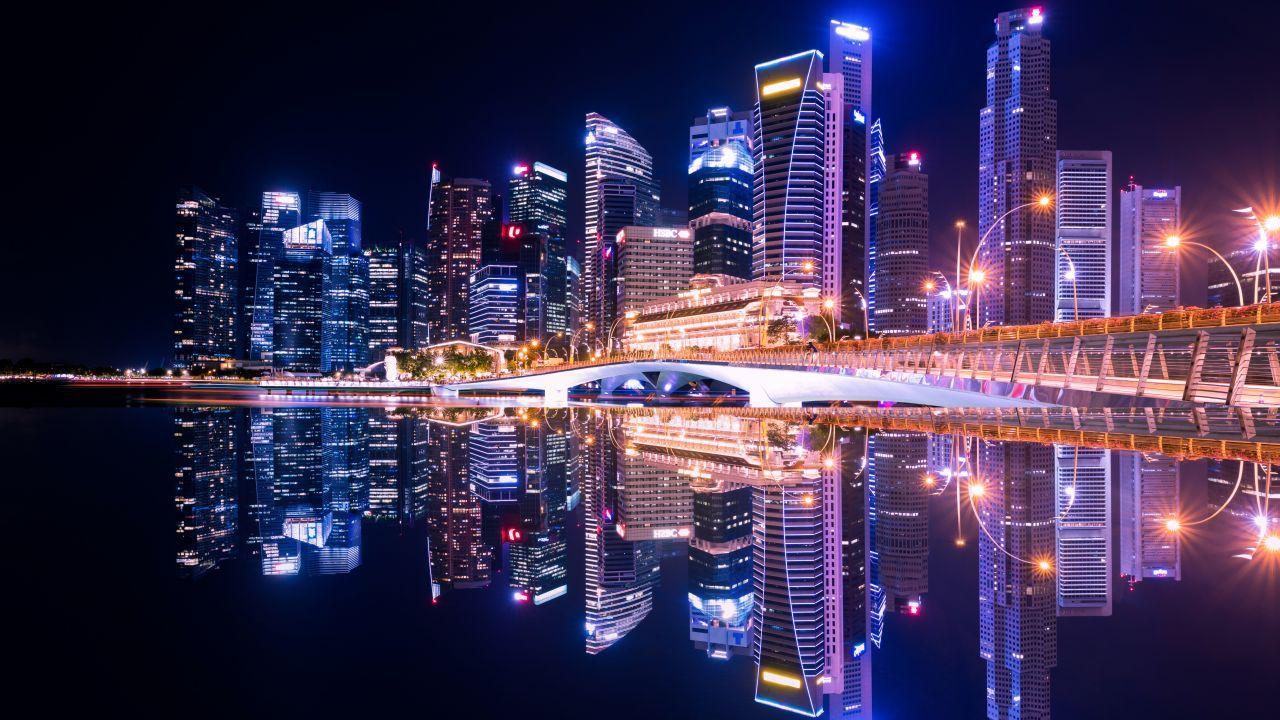 City lights, Nightscape, Reflections, Skyline, Cityscape