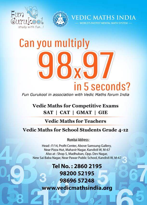 Vedic Maths for everyone at Fun Gurukool.. | Fun Gurukool ...