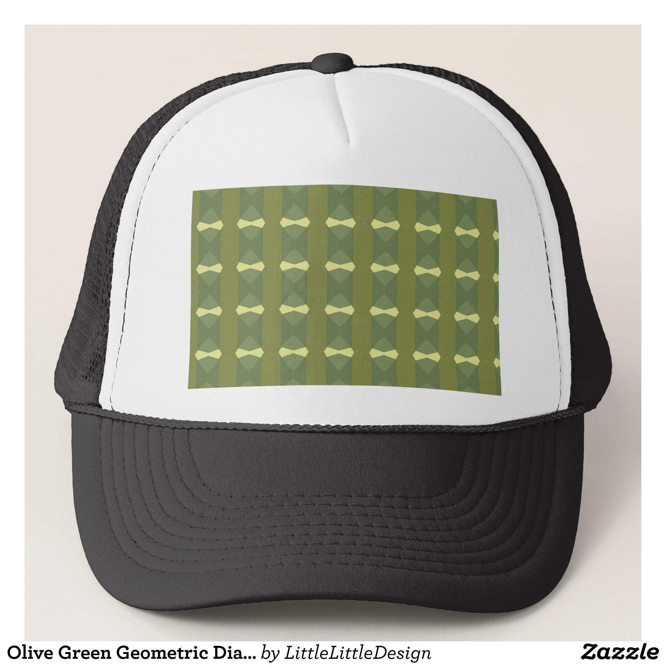 Olive Green Geometric Diamond Stripes Pattern Trucker Hat  bfefff2a897
