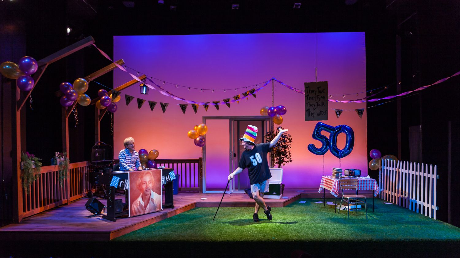Happy 50ish. Theatre Row. Scenic design and lighting by ...