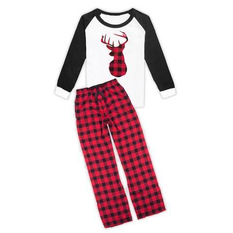 02042526f7 Red Black Buffalo Plaid Deer Pajama Set
