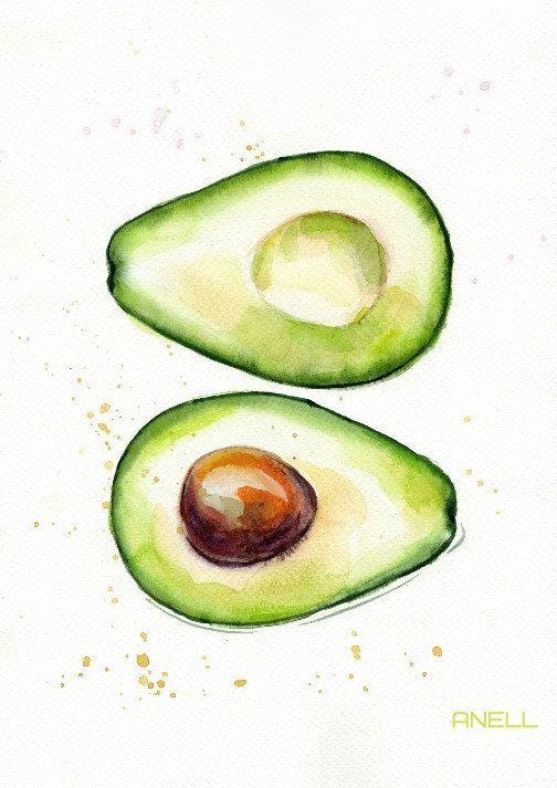 Satz von 4 Avocado Aquarell-Grafik  von AnellHappyWatercolor