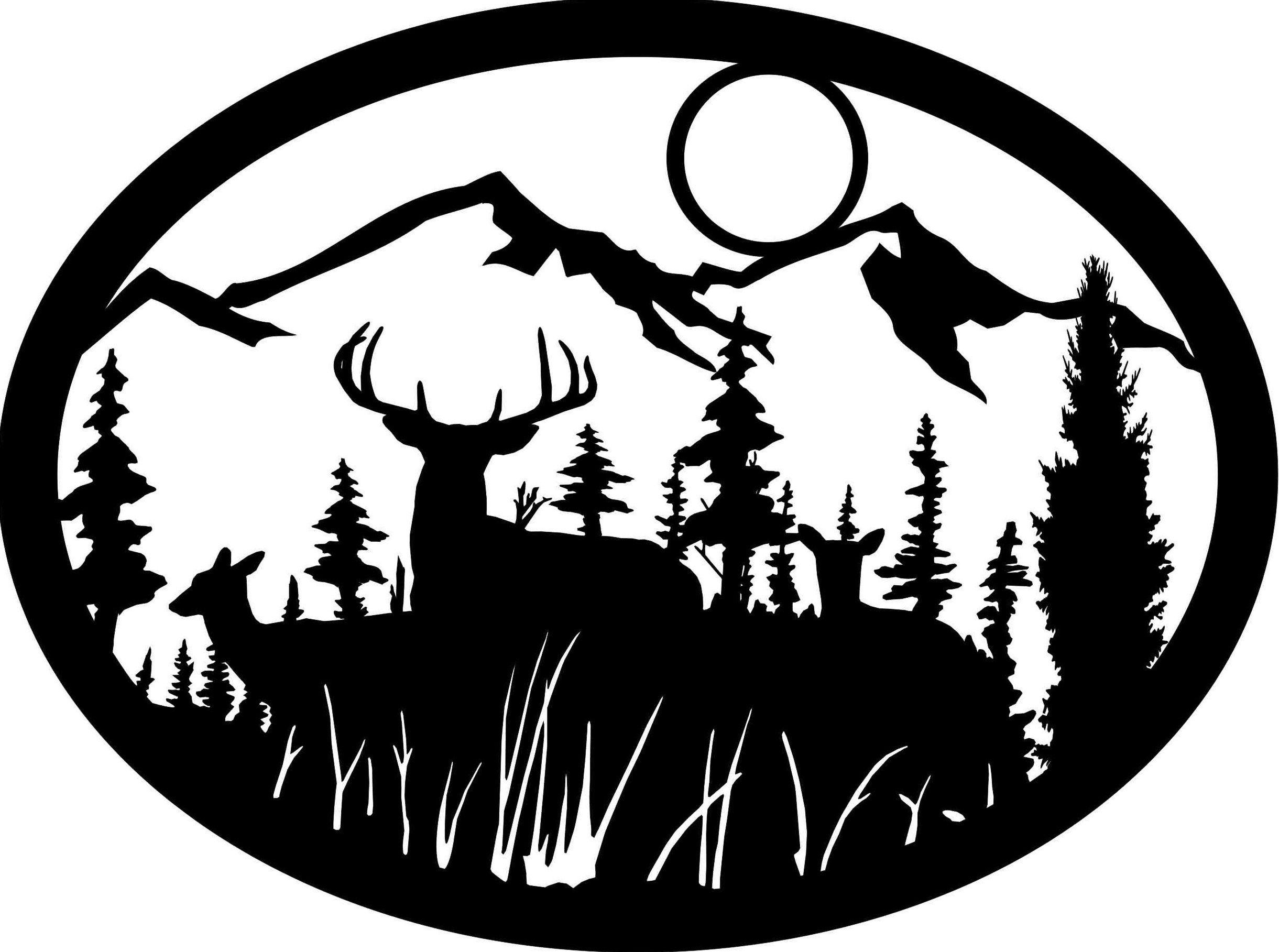 deer mountain scene Silhouette wall art, Forest