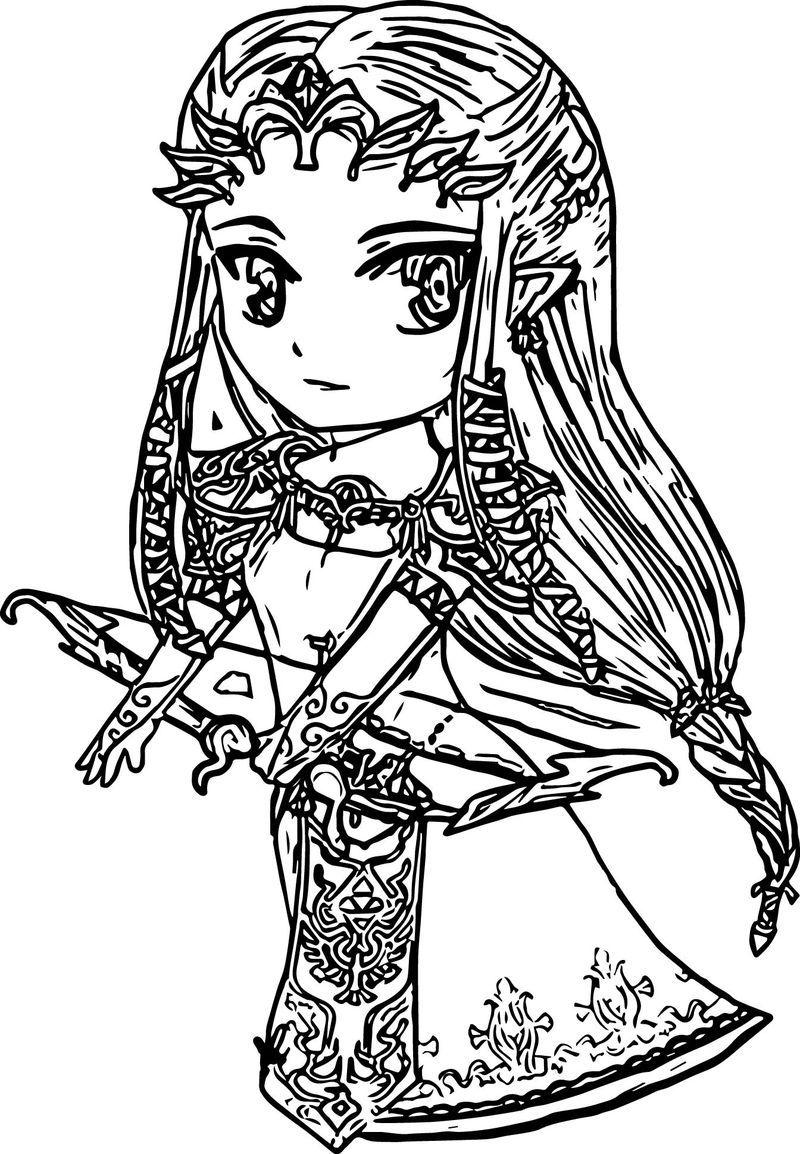 Chibi Zelda Twilight Princess Coloring Page