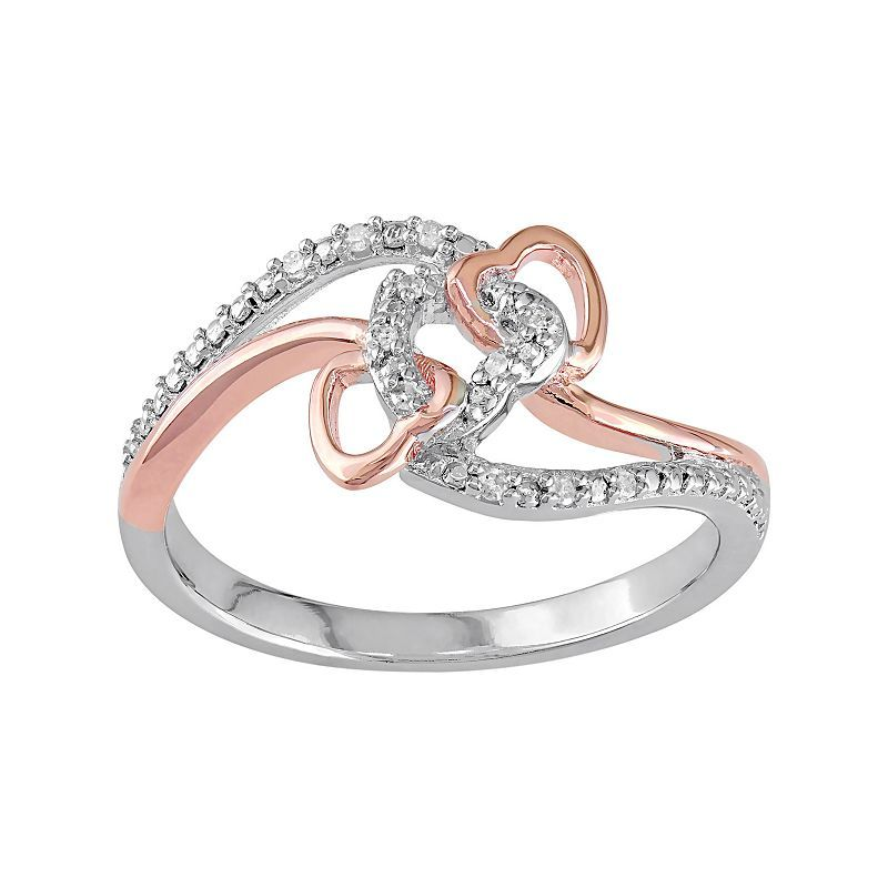 4b2cd7bbe5789 Stella Grace Diamond Accent Two Tone Sterling Silver Interlock Heart ...