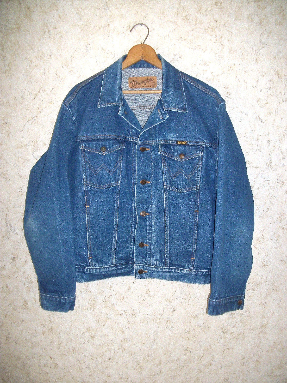 Vintage Wrangler Denim Jacket Trucker Western Wear Button Down 80s Jean Jacket Dark Wash Faded Worn Retro Fashion Denim Jacket Vintage Wrangler Vintage Outfits