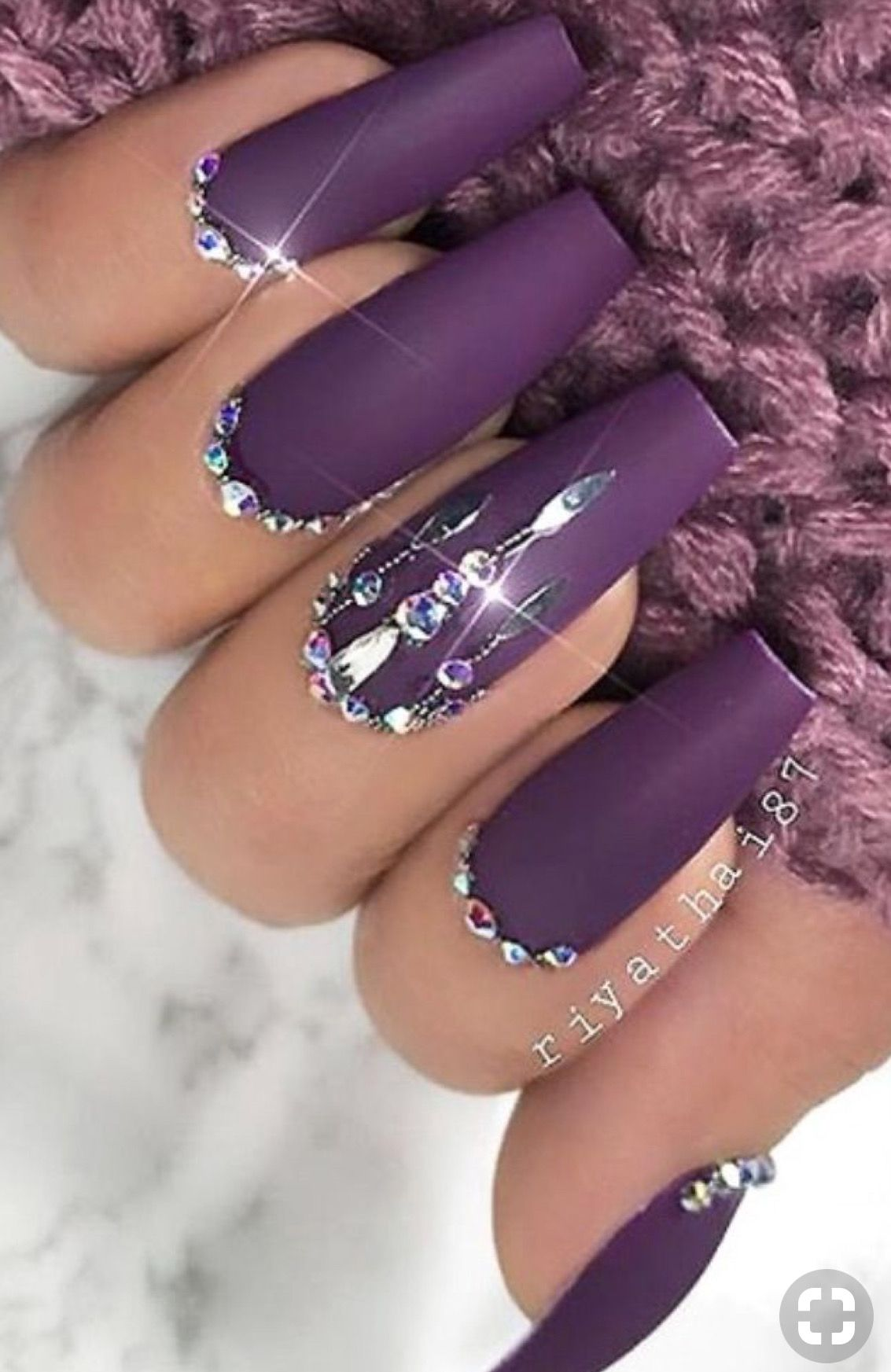 Purple Matte Nails 🍇 w rhinestones 💎 in 2020
