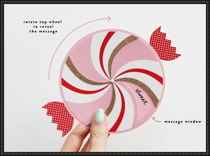 Paper Craft Wheel Candy Greeting Card Template and Tutorial - greeting card template