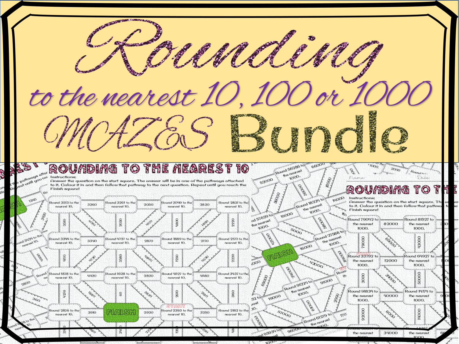 Rounding To The Nearest 10 100 Maze Bundle