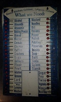 Vintage-tin-what-we-need-grocery-sign-for-Boone-or-Hoosier-cabinets