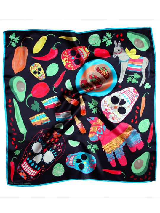 YES! EVERYTHING is better with tacos!! Taco Nights Silk Scarf | Karen Mabon