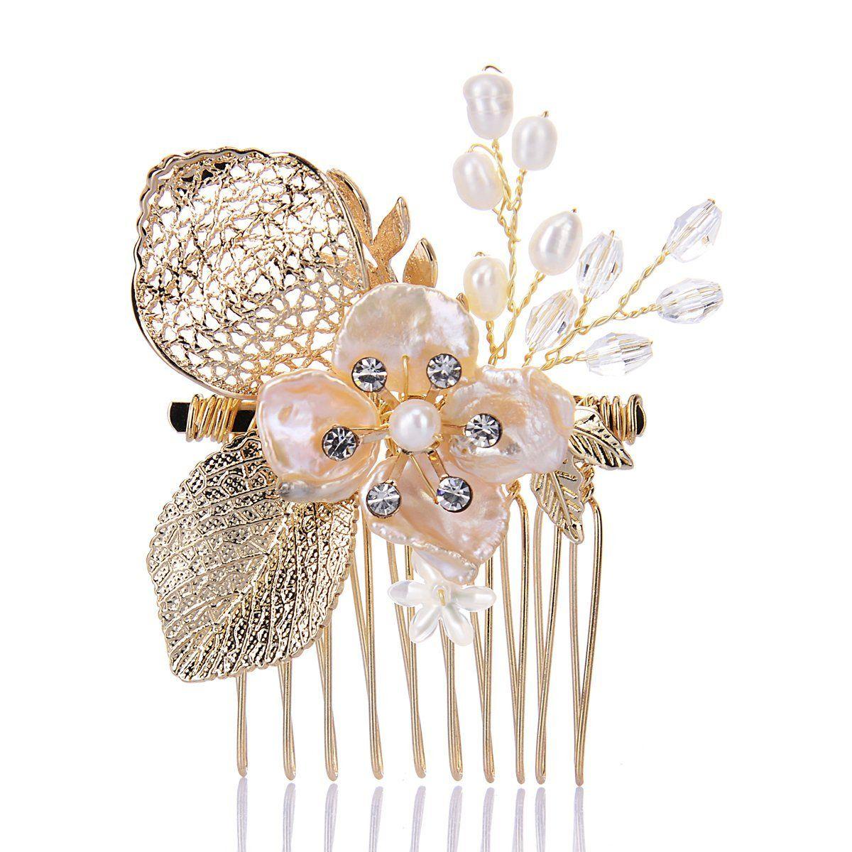 remedios handmade rose gold pearl hair comb wedding hair accessory