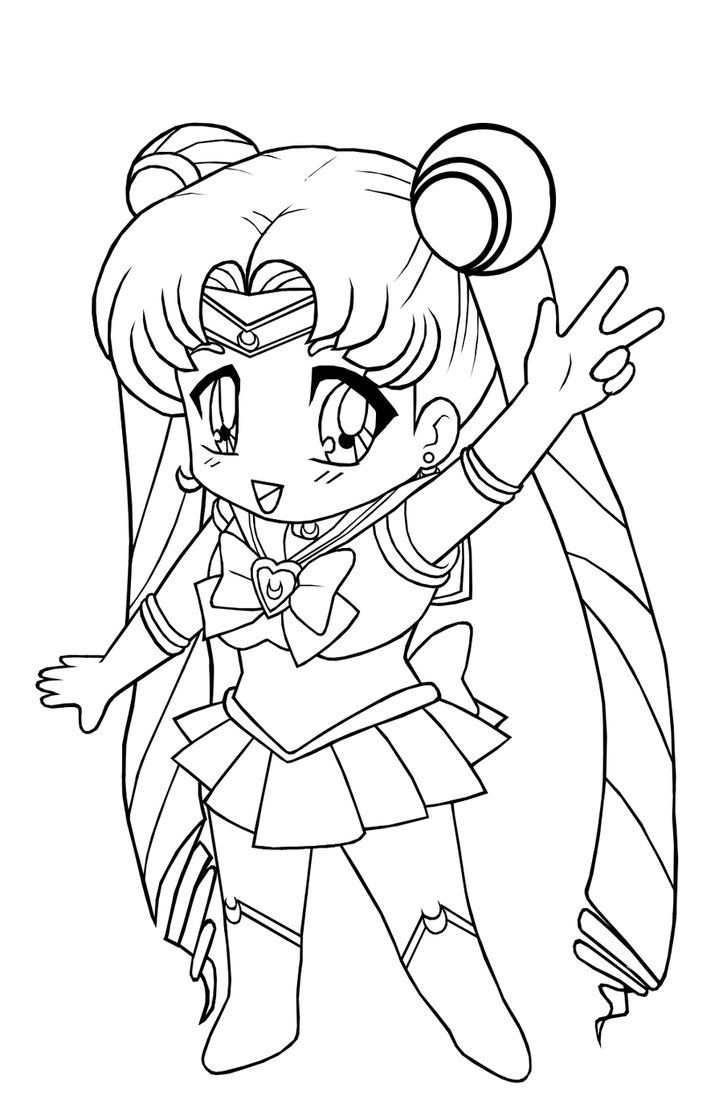 Lineart: Chibi Sailor Moon by Euphoric-Geek | coloring pages | Pinterest