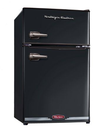 Nostalgia Electrics RRF325HNBLK Retro Series 3.0-Cubic Foot Compact Refrigerator Freezer, Black