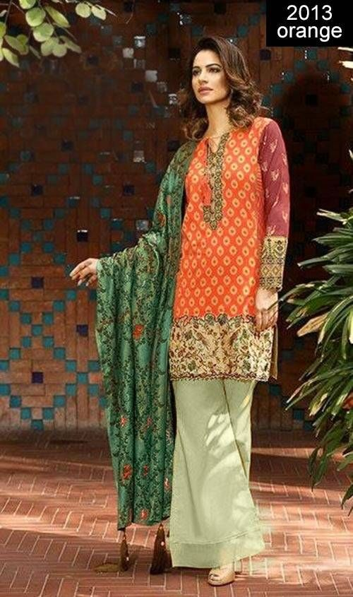 WYRM- 2013 ORANGE- Embroidery Designer 3pc Lawn Suit With Chiffon ...