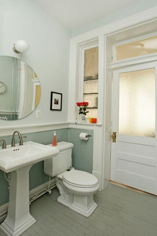 Traditional Powder Room With Ackley Bathroom Vanity Mirror, Glass Panel  Door, Powder Room, Hardwood Floors, Pedestal Sink