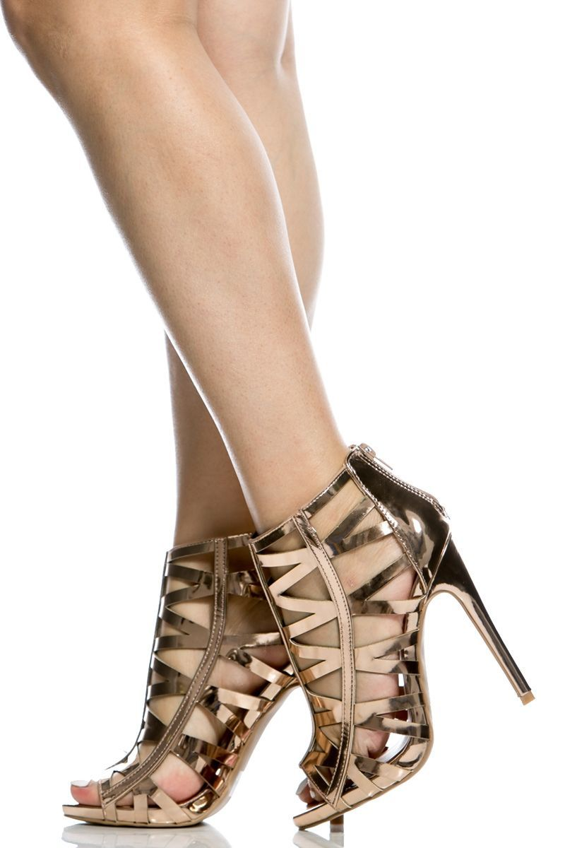 74445a0cd2e Rose Gold Faux Leather Laser Cut Out Open Toe Heels   Cicihot Heel Shoes  online store