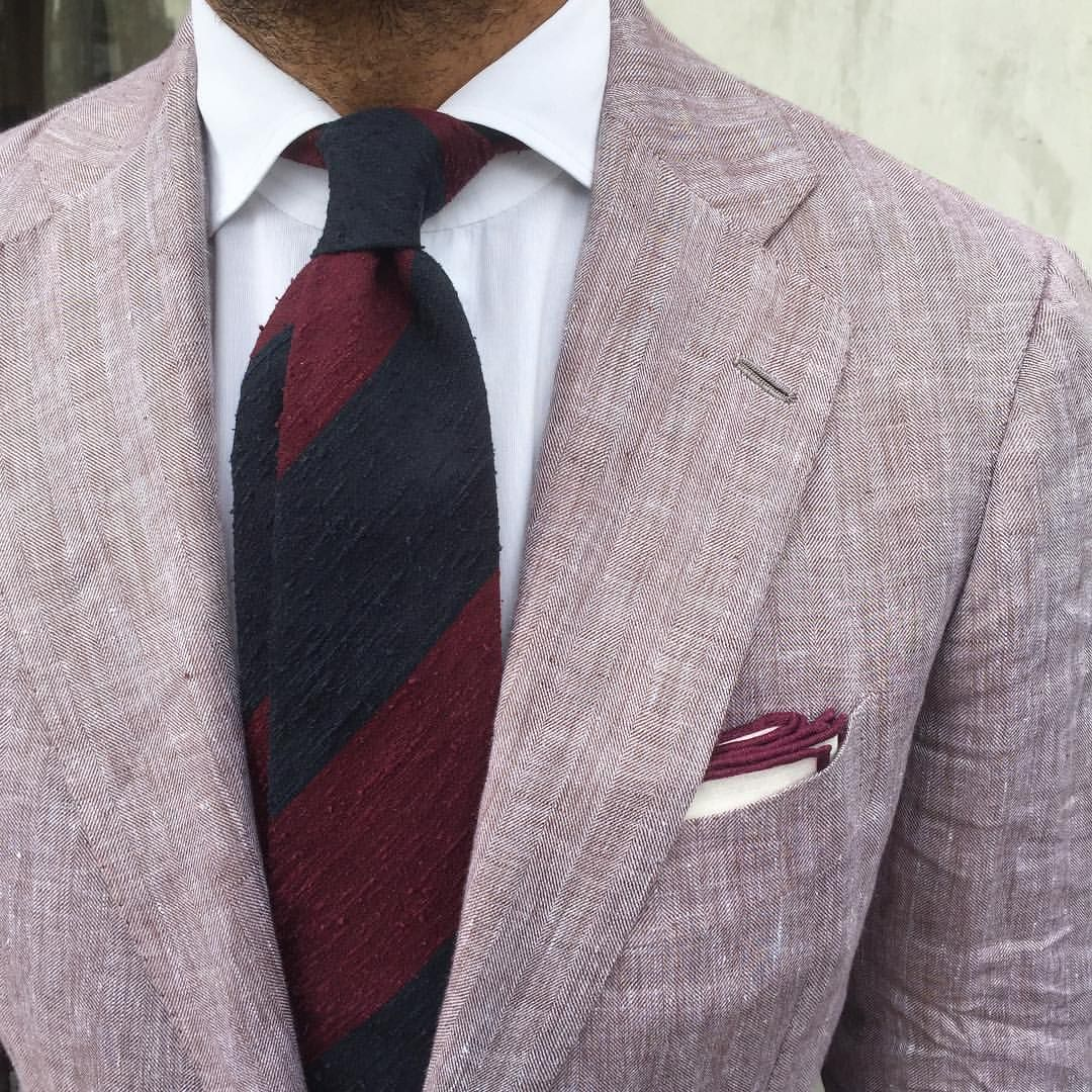 """violamilano: """" Viola Milano Block Stripe 3-fold shantung - Navy/Wine tie & Burgundy Shoestring pocket square… Worn by @suitwhisper & combined with a Linen suit by @cesareattolininapoli Shop online at www.violamilano.com #violamilano #handmade..."""