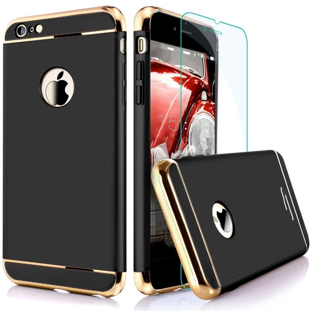 For Apple Iphone 7 6 6s Plus Luxury Protection Mobile Phone Case Tempered Glass 3d Full Cover Clear 4d Premium Anole Ultra Thin Electroplate Metal Texture Plastic Hard Back Screen Protector