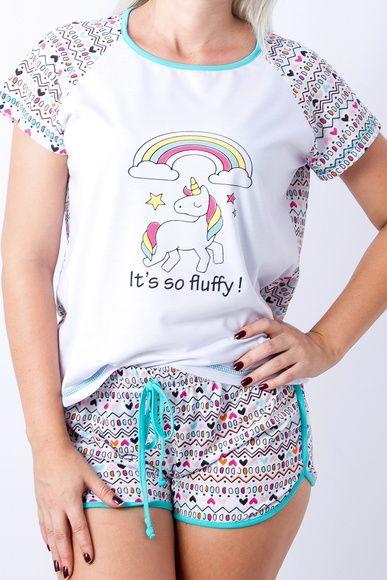 67b7620eb Pijama de Unicórnio Feminino Adulto - Short Doll no. Pijama de Unicórnio  Fem. Adulto Juvenil  pijamas