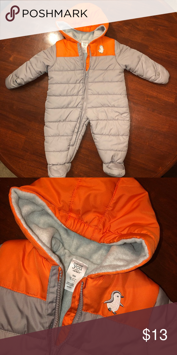 34f2ab071 Carter's Snow-Suit Gray & Orange This 9 month old Snow-suit is in  EXCELLENCE CONDITION! Brand: Carter's Carter's One Pieces Footies