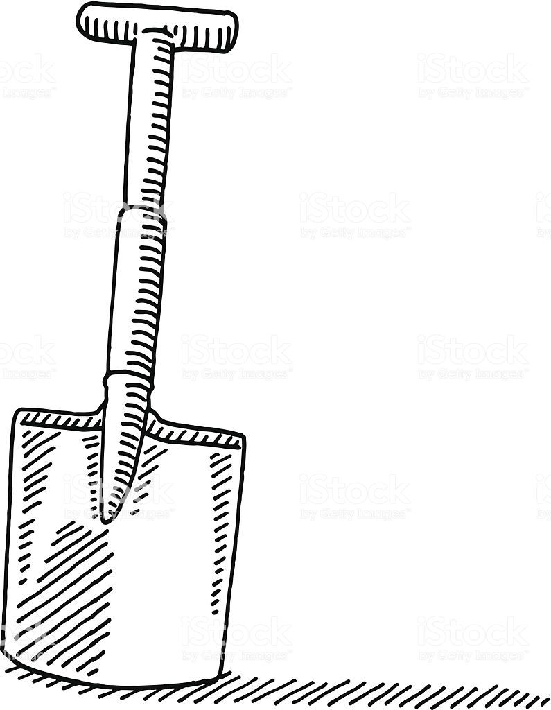 Gardening spade drawing royalty free gardening spade drawing stock vector art more images of doodle