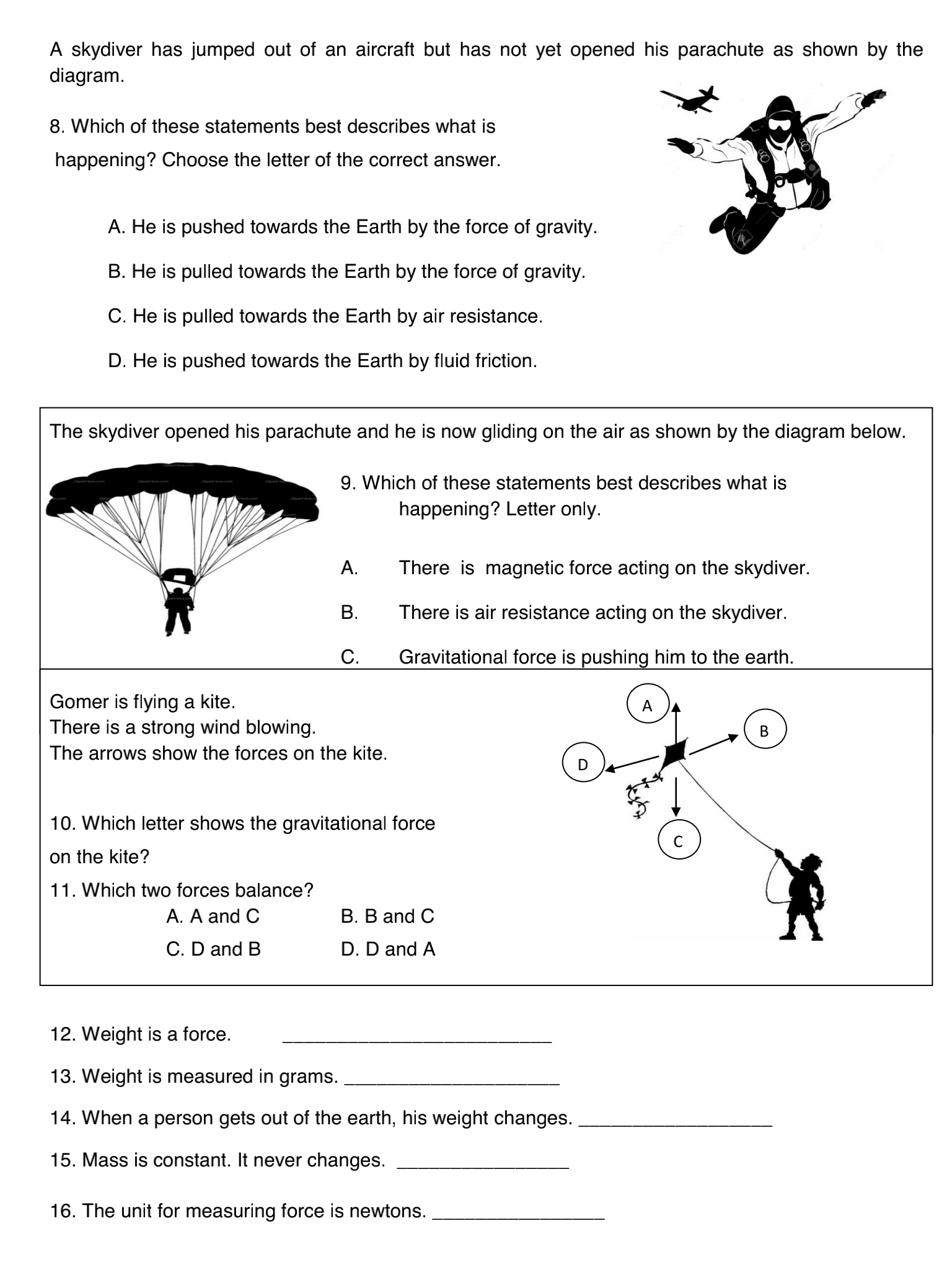 Forces And Parachutes Worksheet Answers