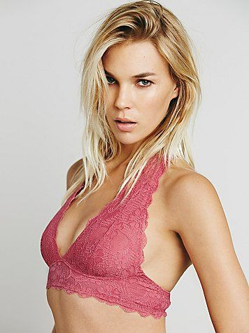 a705ce8de11 Intimately Free People Galloon Lace Halter Bra in Ruby
