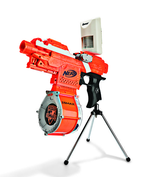 Hack a Nerf gun to automatically fire at large heat signatures: http://