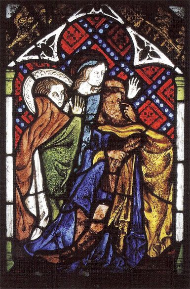 The ghost of a blue-robed Virgin lies at the heart of this piece. Behind her are the expressive and beautifully drawn heads of Mary the wife of Cleophas and Mary Magdalene (John 19:25). The head of Longinius, traditionally the centurion who pierced Christ's side with a spear, has been inserted. He is shown pointing to his own eye to suggest a miracle has occurred.
