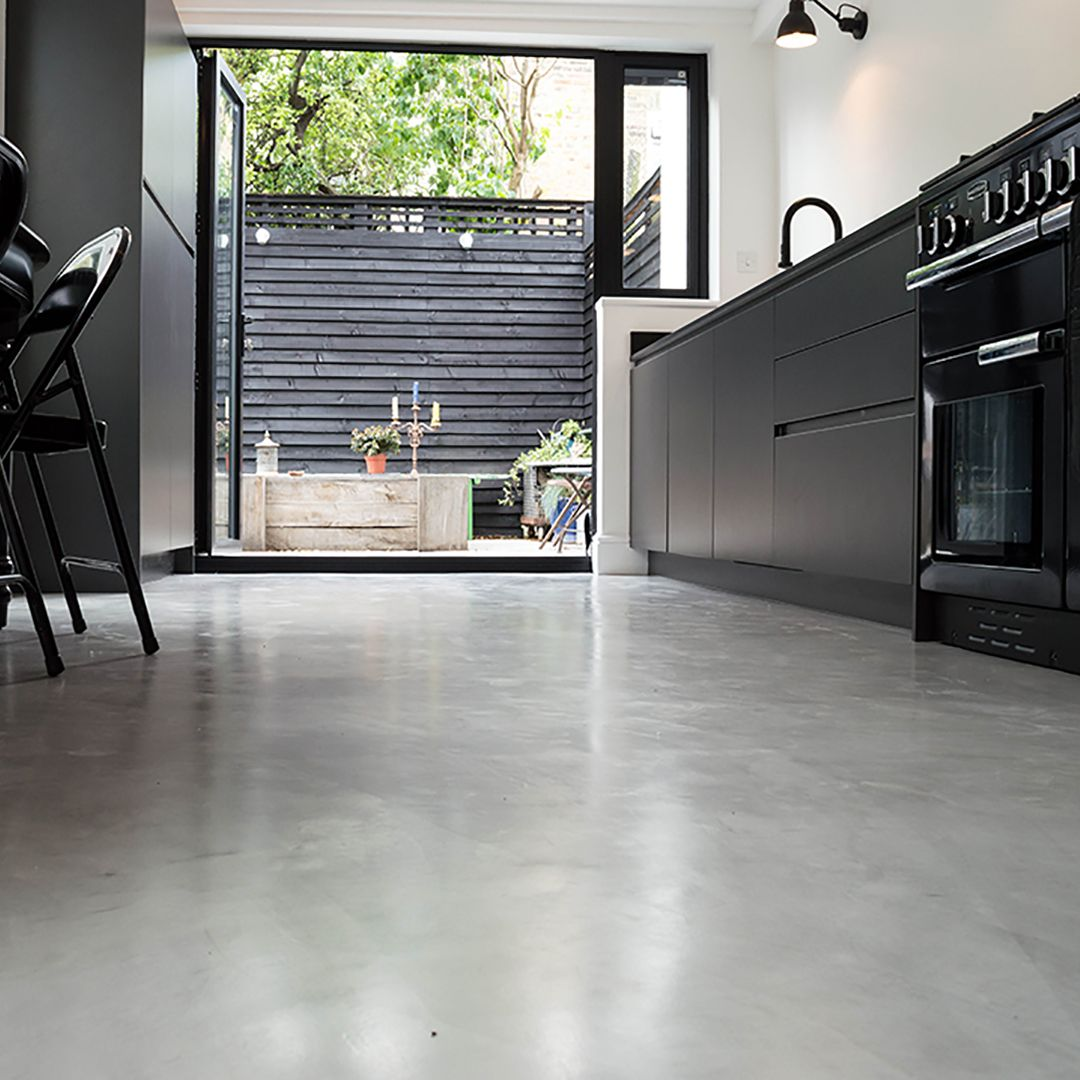 Types Of Kitchen Floors Micro Concrete Kitchen Installation Poured Resin And Concrete