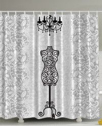 Gray Shower Curtain Female Dress Form Mannequin Black Chandelier