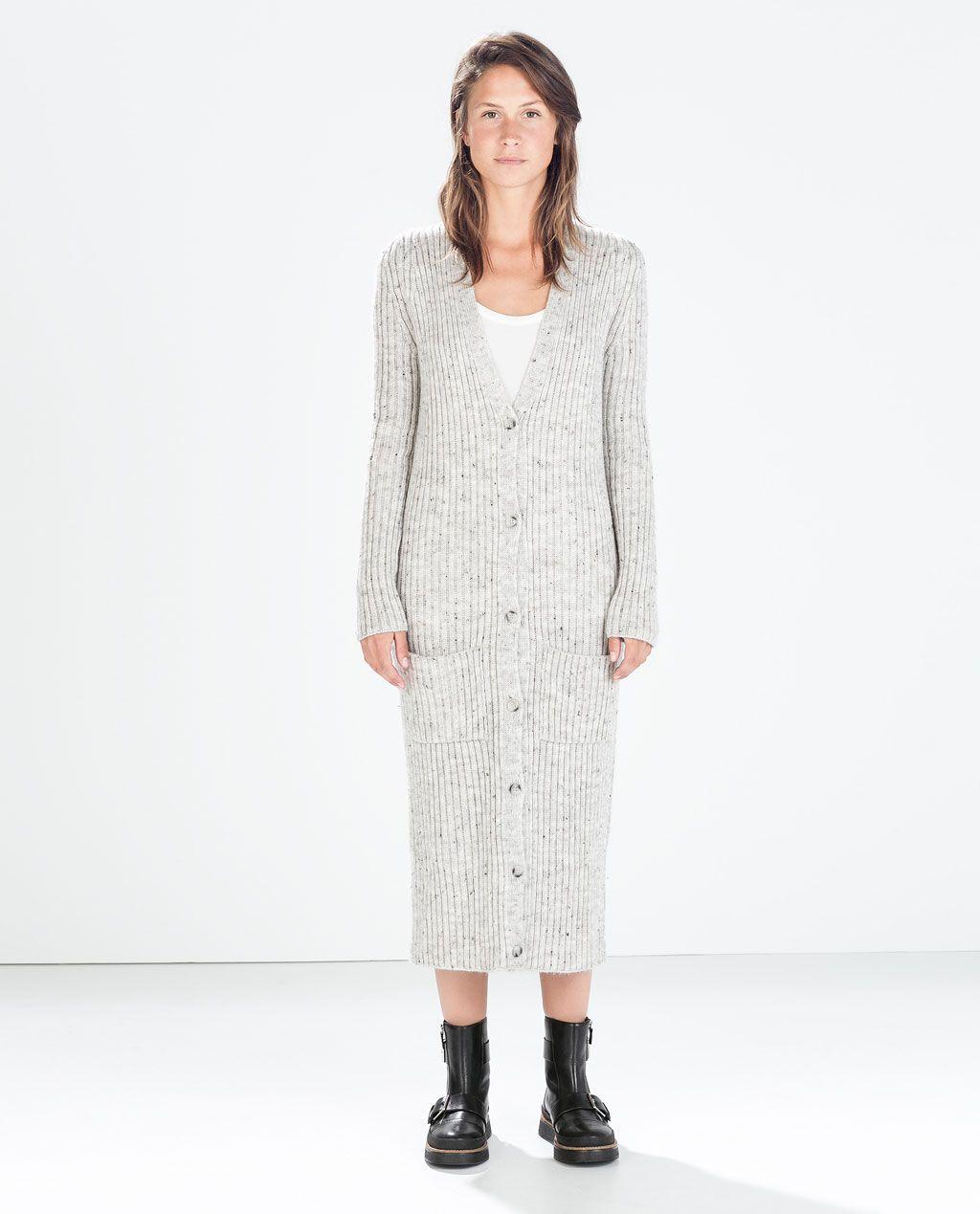 718167f0ef3 LONG RIBBED CARDIGAN - Knitwear - WOMAN