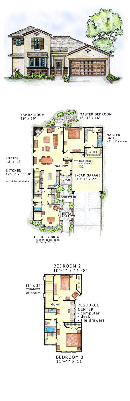 Mediterranean southwest house plan 56527 bedrooms house for Southwest floor plans