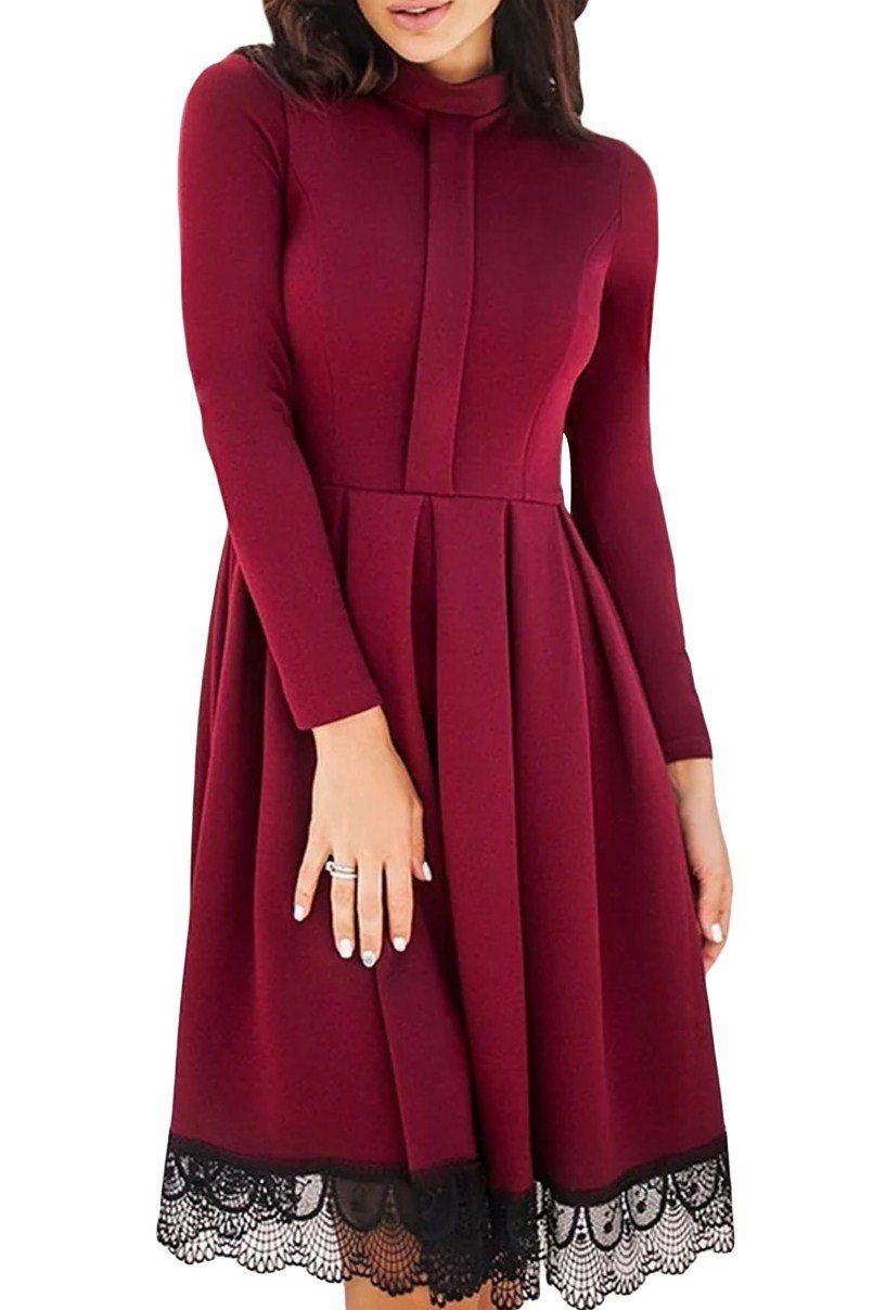 becb46a0532e Lace Hemline Detail Burgundy Long Sleeve Skater Dress modeshe.com  Red   party  nice  style  dresses  fashion