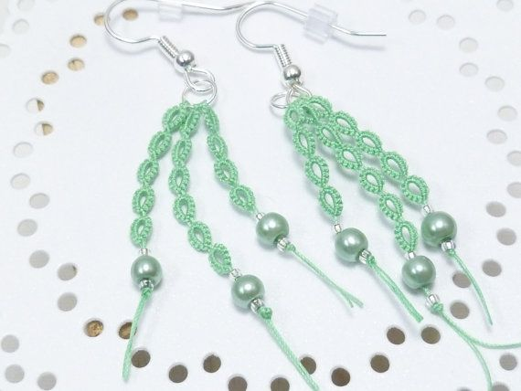 Tatted Lace Earrings Modern Jewelry With Gl Beading Wisp In Light Green