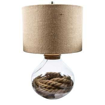 Get Refillable Glass Base Lamp With Burlap Shade Online Or Find Other Lamps  Products From HobbyLobby
