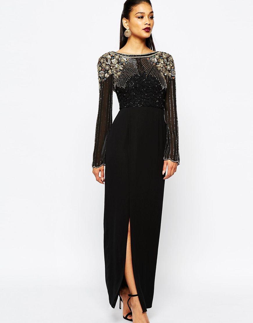 Image of virgos lounge long sleeve embellished maxi dress with
