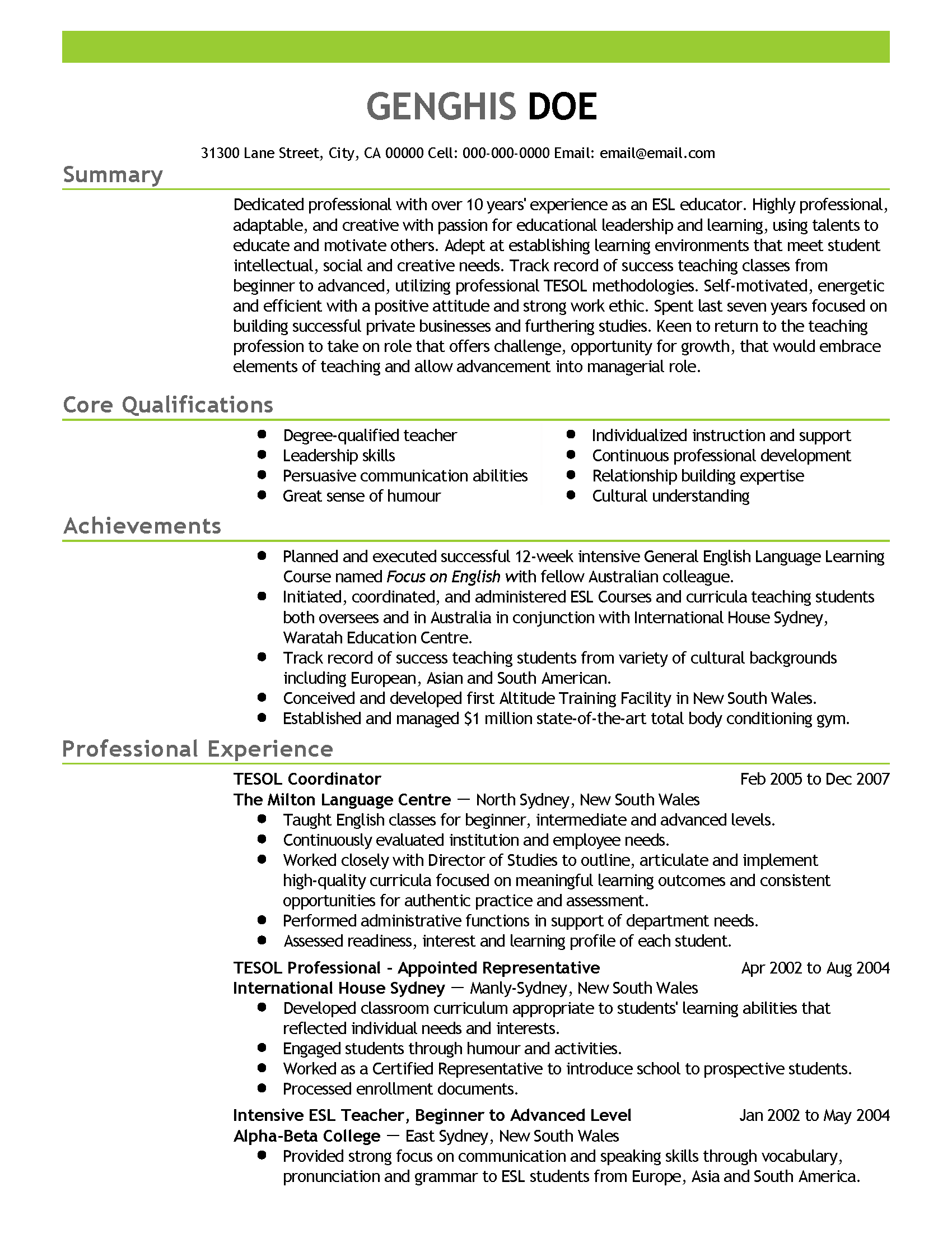 Esl Resume Sample Cover Letter Free Jobs And Professions