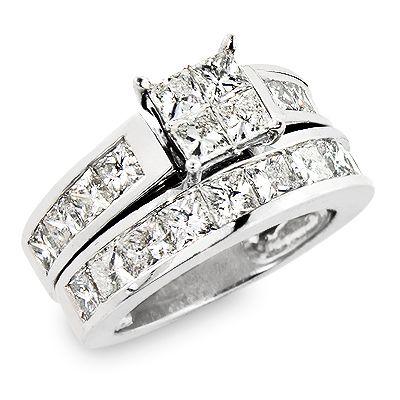 Beautiful Large Princess Cut Diamond Engagement Ring Set ct Channel Setting