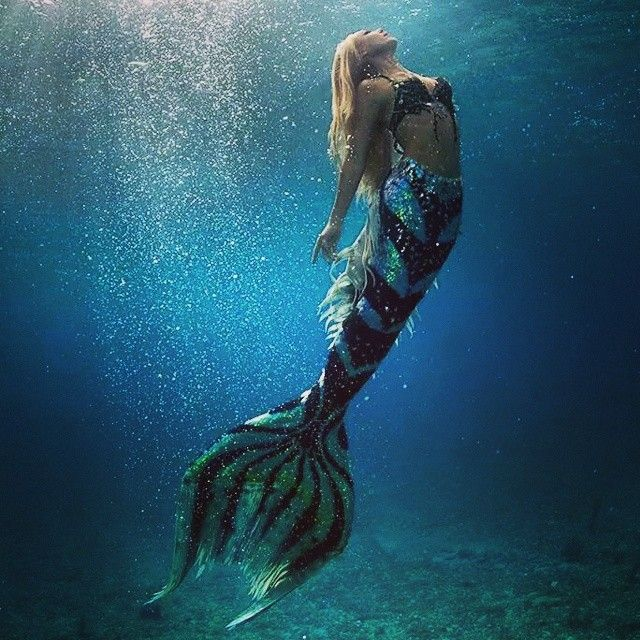 Blonde Hair Mermaid With Blue Tail Underwater Art