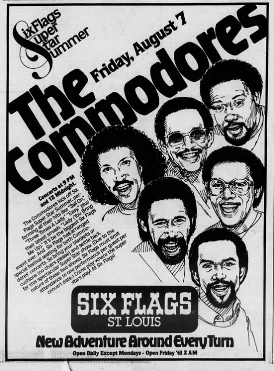 The Commodores W Lionel Richie At Six Flags 1981 Lionel Richie Commodores Six Flags