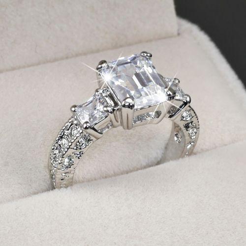 white gold gp emerald cut lab engagement wedding