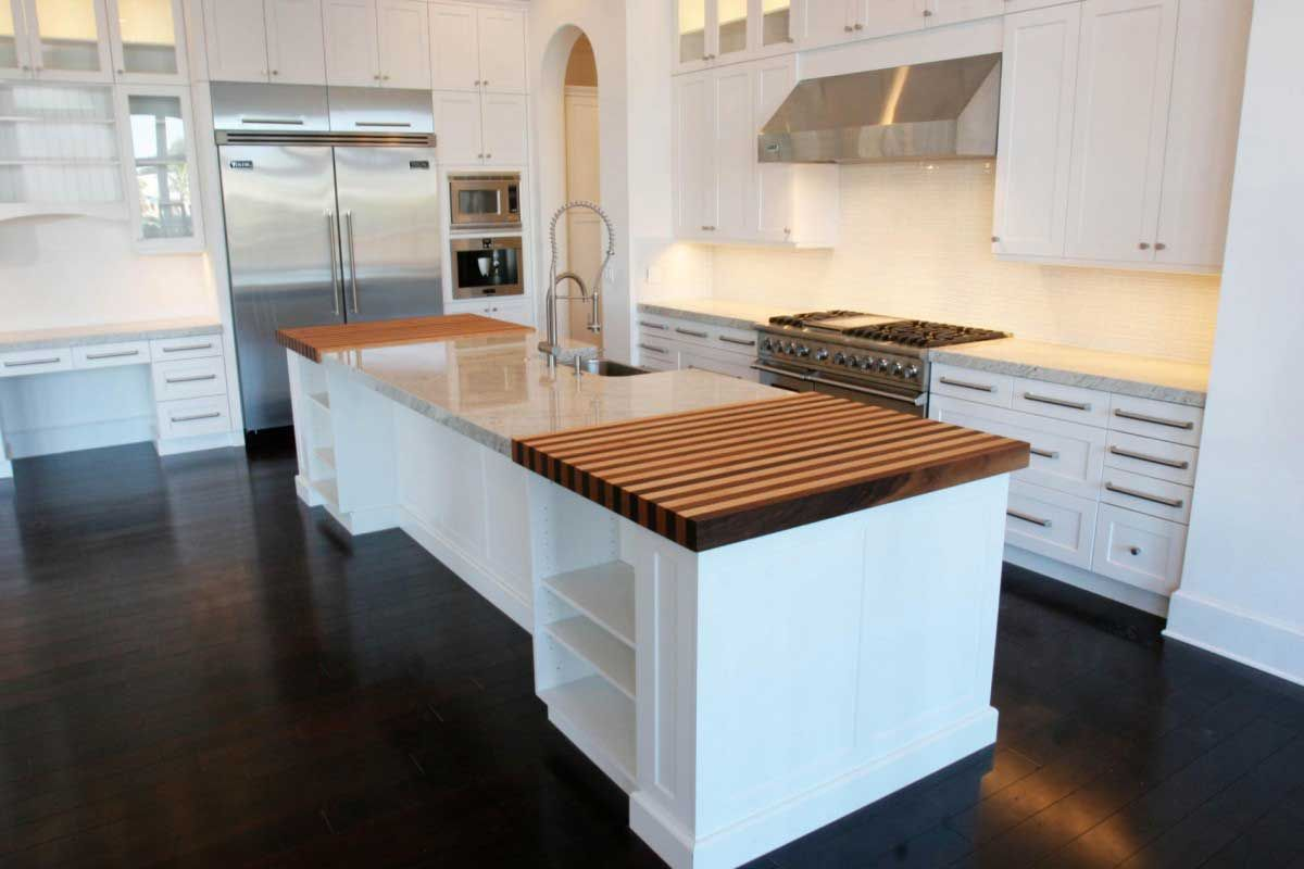 Modern Dark Wooden Floor For Kitchen Kitchen Cabinet Design