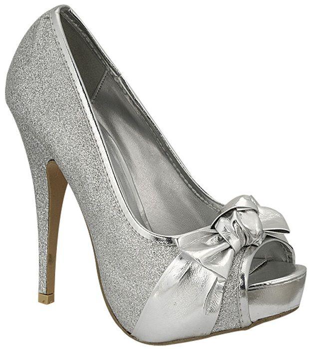 2f956b69bcc Women s Trendsup Emma-02 Silver Peep Toe High Heel Shoes