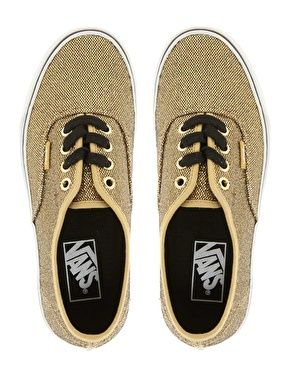 vans authentic gold glitter trainers